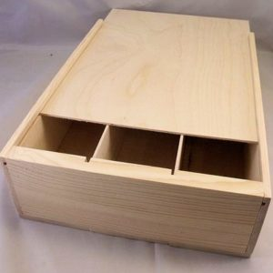 wooden 3 bottle wine box