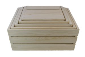 slatted wooden nesting crates