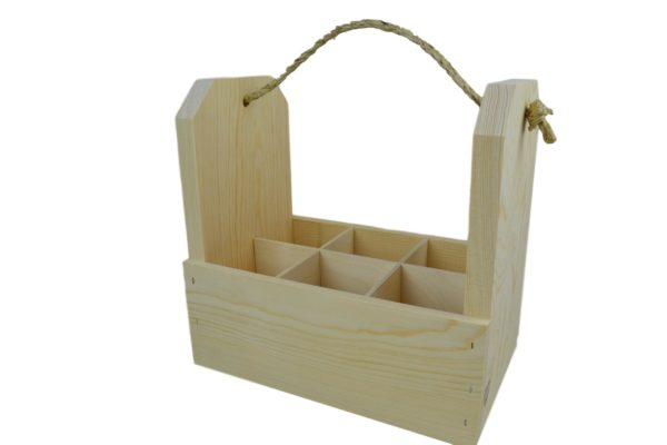 wooden 6 pack gift crate