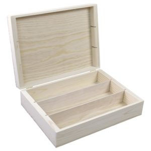 wooden 3 bottle hinged gift box