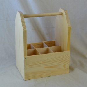 wooden 6 pack wine tote