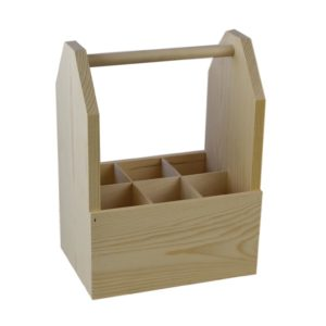 wooden 6 pack wine