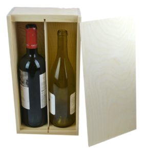 wooden box 2 bottle slide