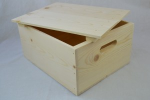 wooden box lid on