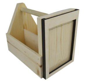 wooden condiment carrier-menu holder