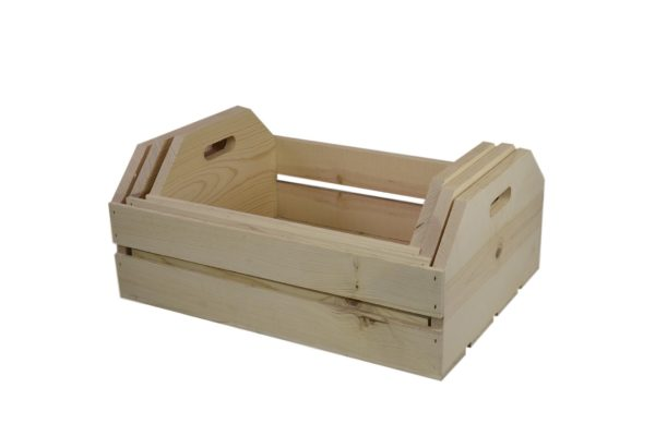 large 3 piece wooden hand hole nesting crates