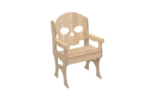 wooden skull baked chair