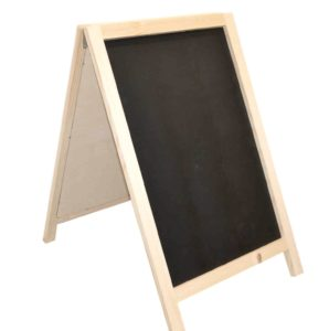 wooden lite weight a-frame chalkboard