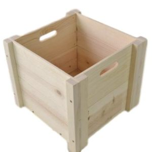 wooden box hand holed
