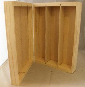 Wooden 3 Bottle Hinged Gift Box upright