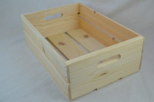 wooden hand hole crate front