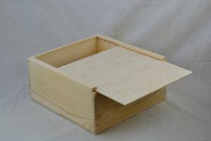 wooden slide top box 12 x 12 x 6 lid open