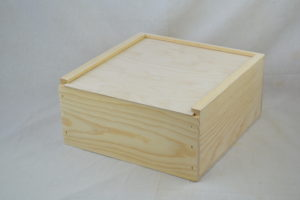 wooden slide top box 12 x 12 x 6 side view