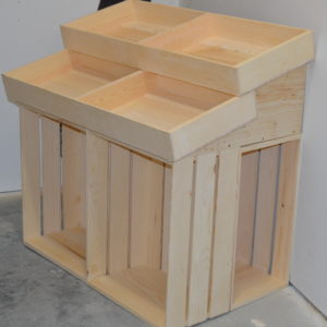 wooden 1 half barn end cap display side angle