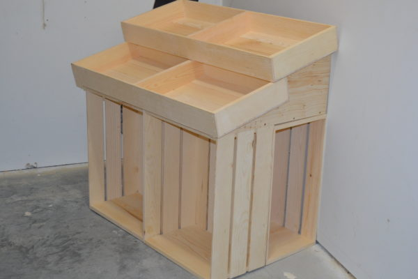 wooden 1 half barn end cap display side angle
