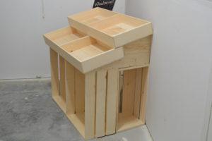 wooden 1 half barn end cap display close