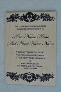 wooden wedding invitations black