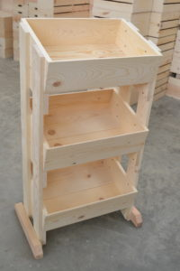 wooden 3 tier store display close up