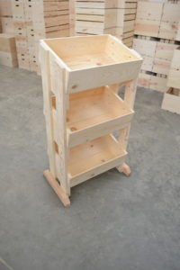 wooden 3 tier store display angle view
