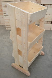 wooden 3 tier store display side view