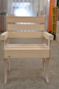 Wooden deck chair front