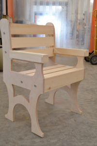 Wooden deck chair side