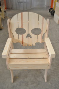 wooden skull chair close up
