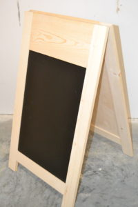 Wooden A-frame Chalkboard side view