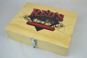 wooden pistol box with logo