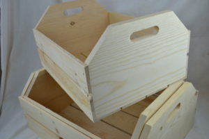 Large 3 piece wooden hand hole nesting crates angle