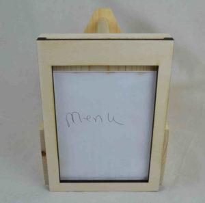 wooden condiment carrier-menu holder front
