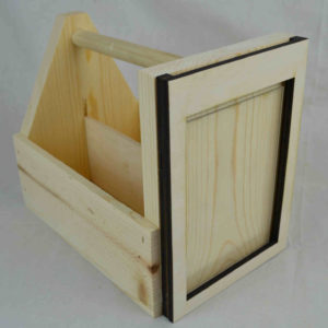 wooden condiment carrier-menu holder