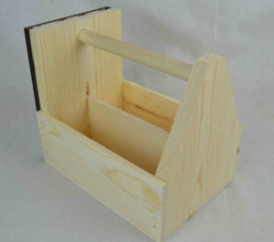 wooden condiment carrier-menu holder angle view