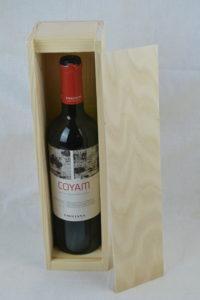 wooden wine box single lid off