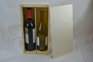 wooden 2 bottle wine box lid off