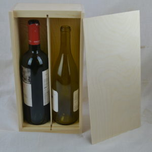 wooden 2 bottle wine box lid off