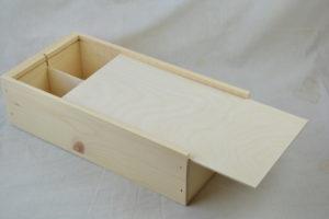wooden 2 bottle wine box open