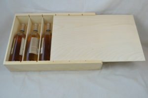 wooden 6 bottle box with sliding lid open