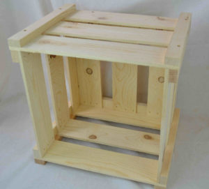 wooden crate knockdown style open front