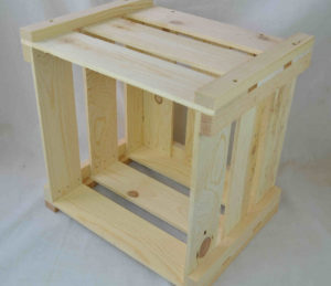 wooden crate knockdown style side view