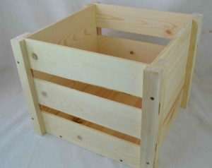 wooden lp record storage crate angle view