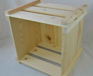 wooden lp record storage crate open front