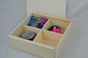 wooden swag box with product
