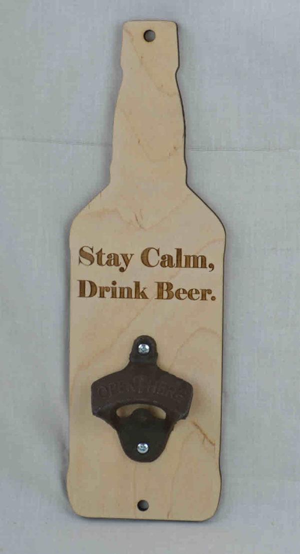wall mount bottle opener stay calm drink beer