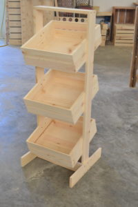 wooden 3 tier store display tall angle view