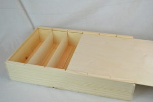 wooden 6 bottle large slide top box with lid open