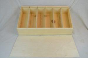 wooden 6 bottle large slide top box with lid off