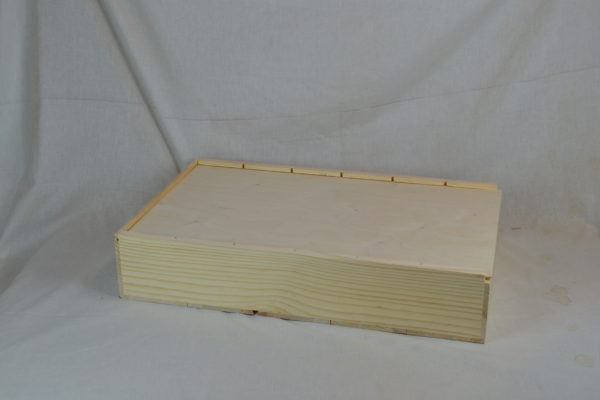 wooden 6 bottle large slide top box with lid closed