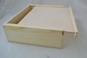 wooden slat pull box open