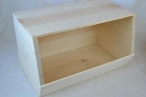 wooden stackable storage bin left side